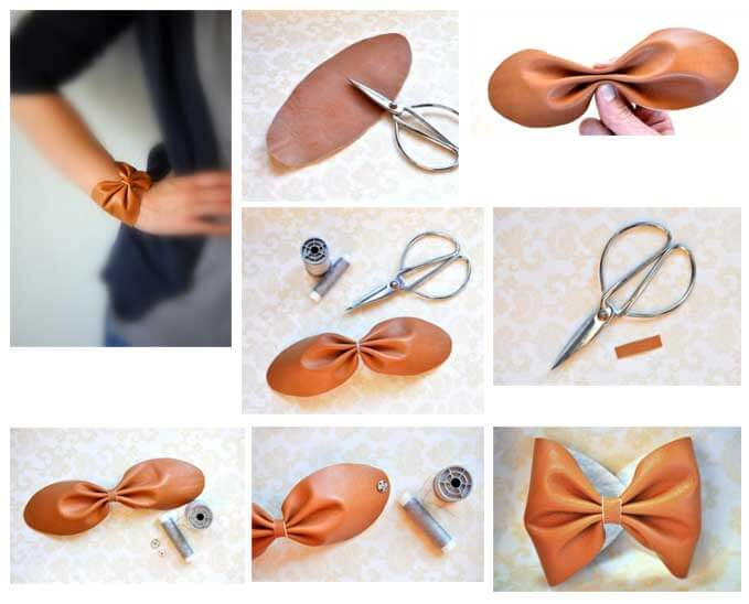 Tone down a bold outfit with this DIY leather bow.