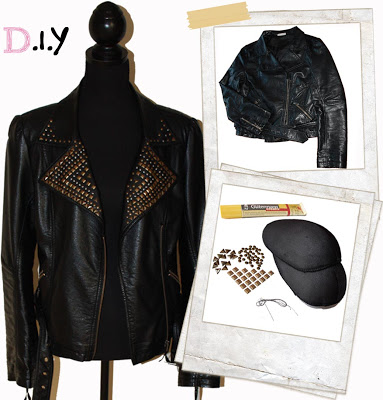 Turn an old leather jacket into a totally different item of your wardrobe by adding a little sparkle to it.