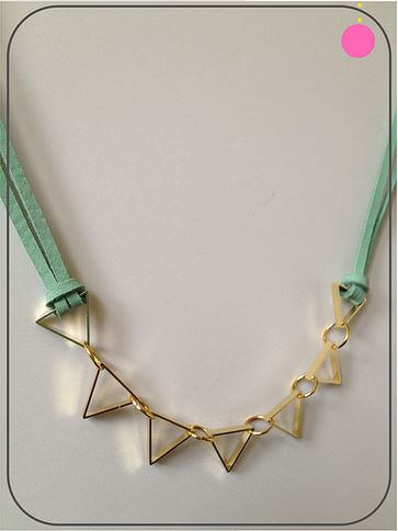 DIY leather necklace with cut metals
