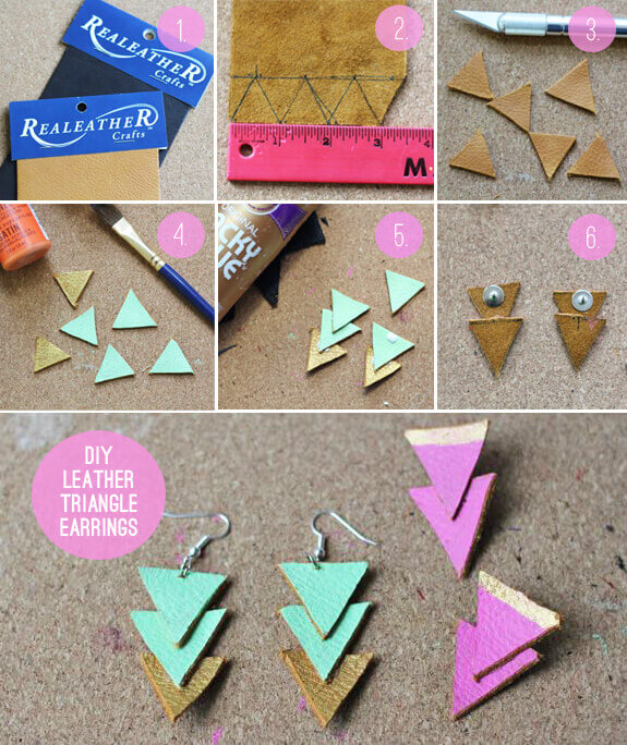 Photo shows steps in making these DIY leather triangle earrings