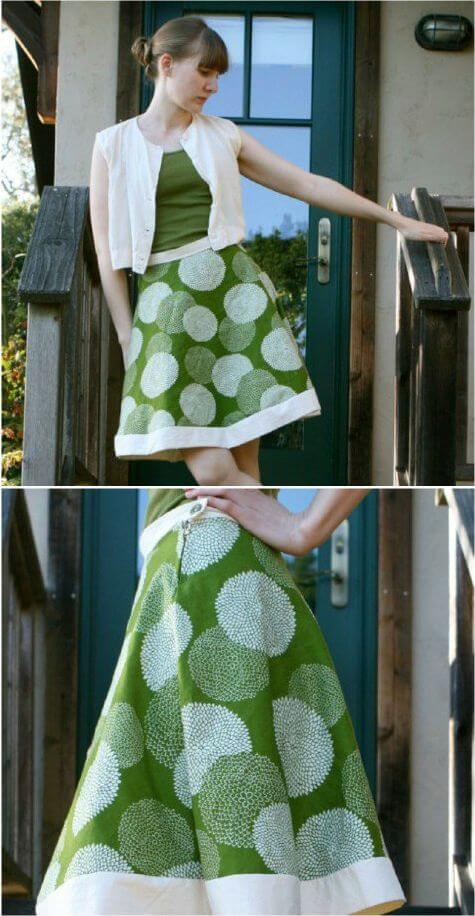 Model creates a unique patterned midi skirt