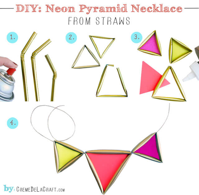 DIY neon pyramid necklace steps