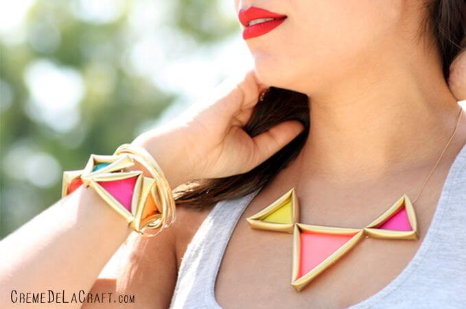 DIY neon pyramid necklace