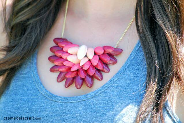 DIY ombre pistachio necklace