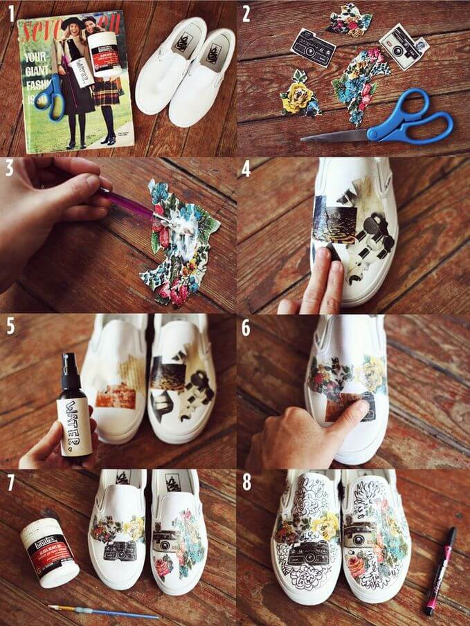 Steps in applying picture cutouts in white plain shoes