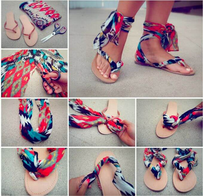 Steps in making a DIY ankle scarf wrap sandals
