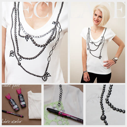 A DIY trompe loeile necklace shirt in white