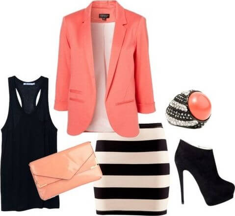 A simple black racerback top and a striped bandage skirt is completed with a coral blazer and a bright purse, black boots are a necessity and a pearl ring wouldn't hurt as an accessory