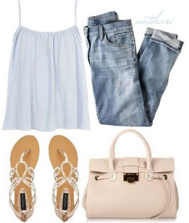 Don this racerback-jean combo with a bright bag and matching flats