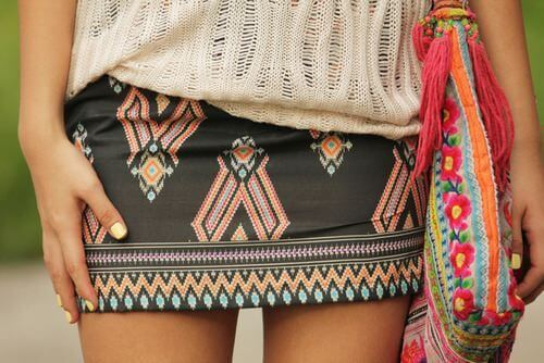 An ethnic print mini skirt