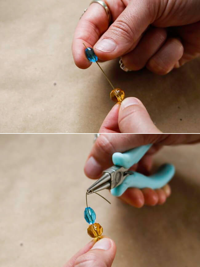 Photo show pliers bending tip of eyepin into a hook and adding colorful beads for design