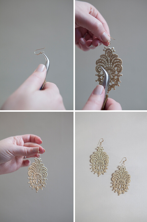 Finish by attaching the French earring hook and closing the fastening tightly