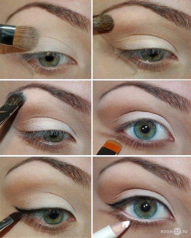 Black eyeliner on upper lash and white on lower lash