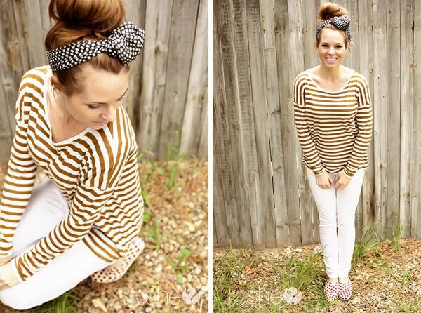 Model shines in a golden striped shirt and white pants, mixing stripes with a polka headdress.
