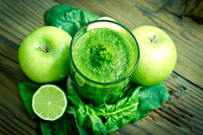 Thick green smoothie with lime