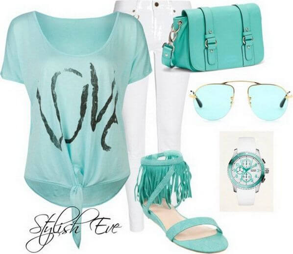 The collection is based on the fresh color mint, from the cute top itself to the accessories: the bag and flat sandals with frills and the sunglasses, to the simple watch and white skinny jeans to add even more freshness