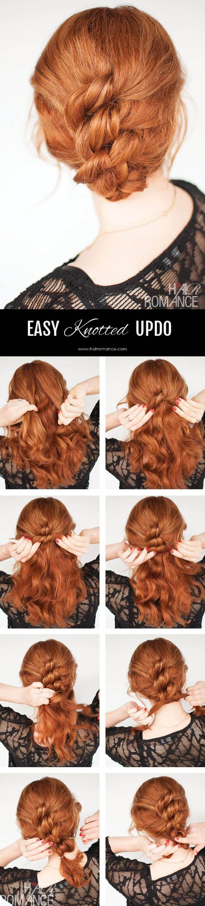 The knotted ponytail is easy to do with a hairbrush, few bobby pins and elastic bands