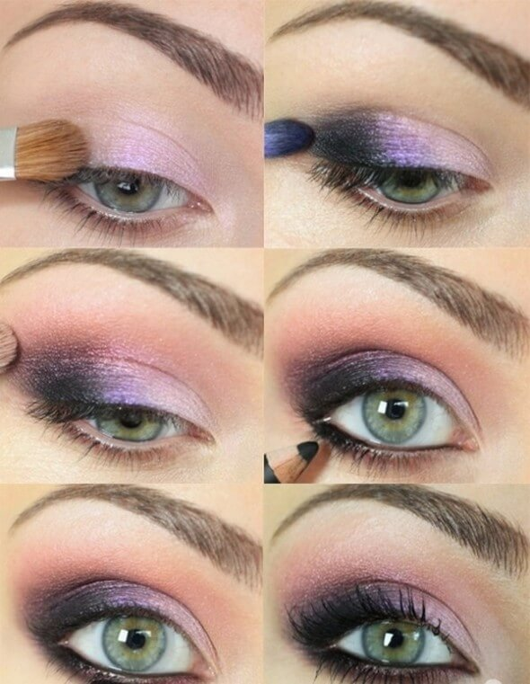 A lilac and purple combo on eyes