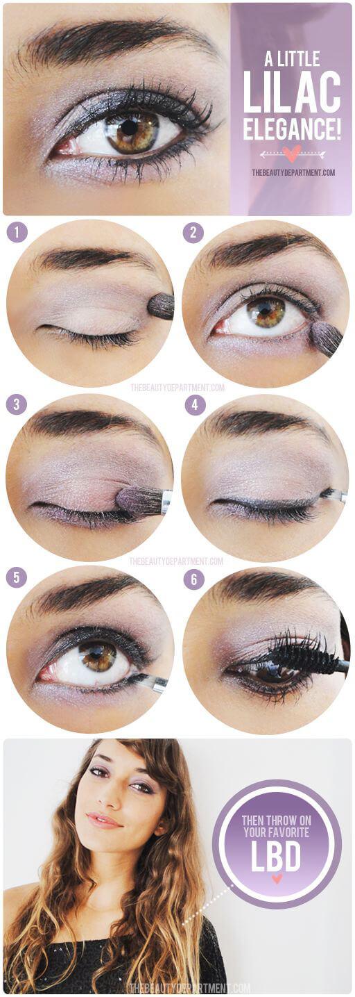 Lilac eye shadow with mascara