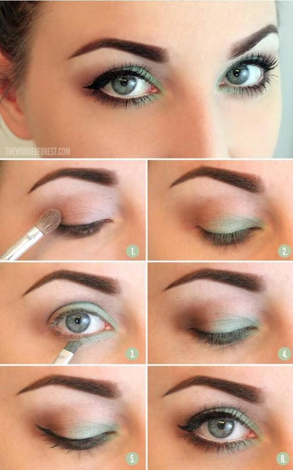 Modify the modern cat eye using the lightest shades of green and a black liner with mascara.