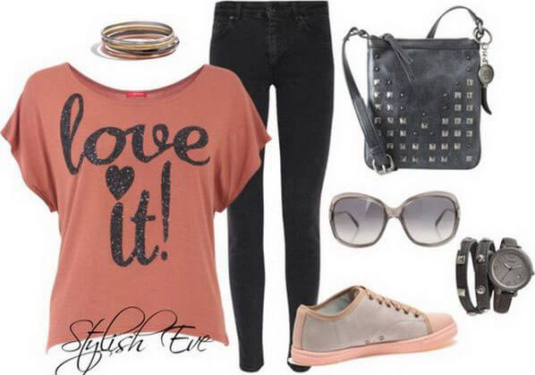 Punky look with an orange blouse and black skinny jeans and sneakers to match statement glasses
