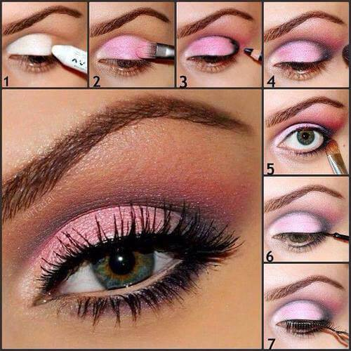 Pink and black eye shadow