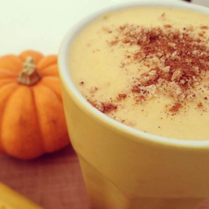 Pumpkin smoothie designed with toppings