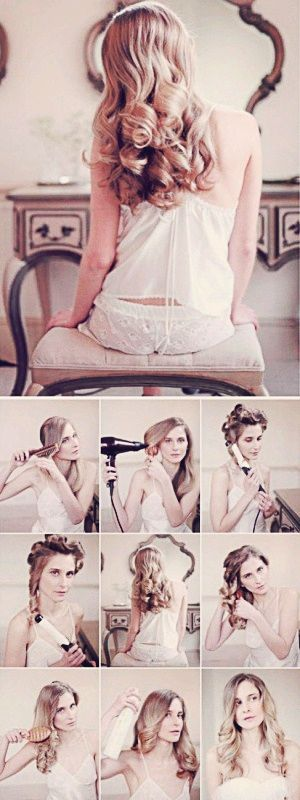 Model is showing steps on how to curl your hair and look romantic