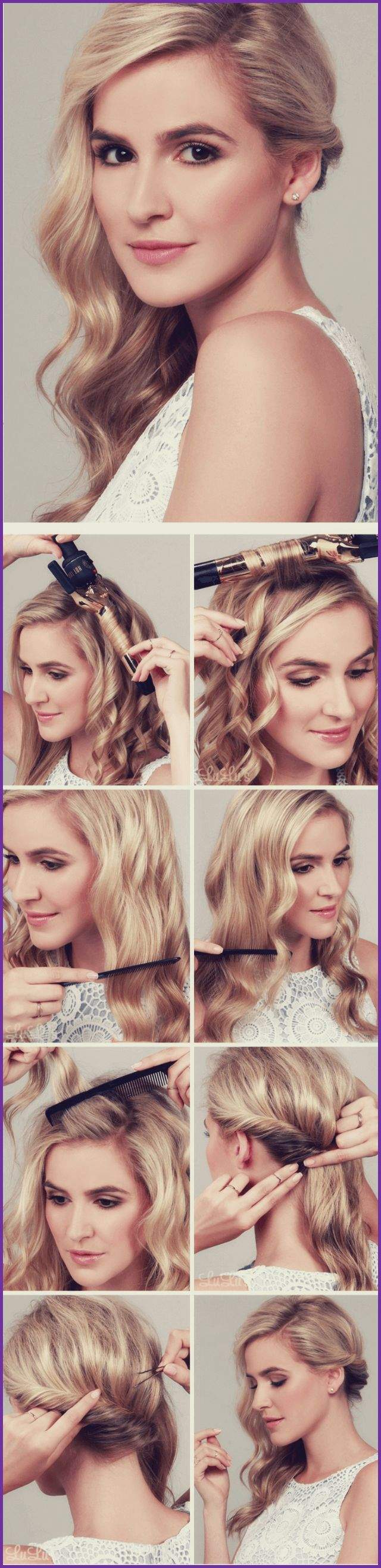 Model curls strands with a curling iron and combs it slowly to get the soft, wavy effect
