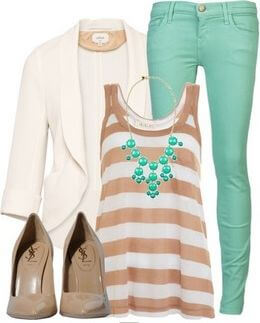 Striped top with a white blazer, mint jeans and nude heels with a necklace to accessorize