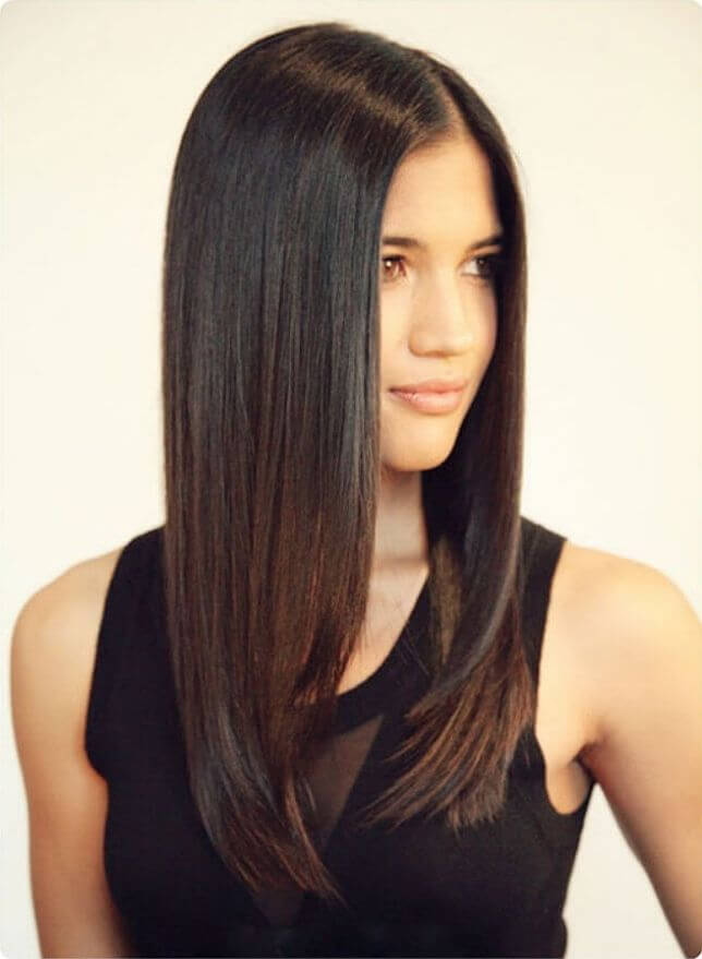 Model has smooth and straight hair