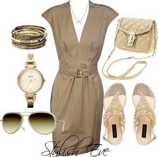 Sexy beige dress with classy sandals, accessorized with a champagne-colored bag, a watch and bangles with a gold accent and aviator sunglasses to rock the look