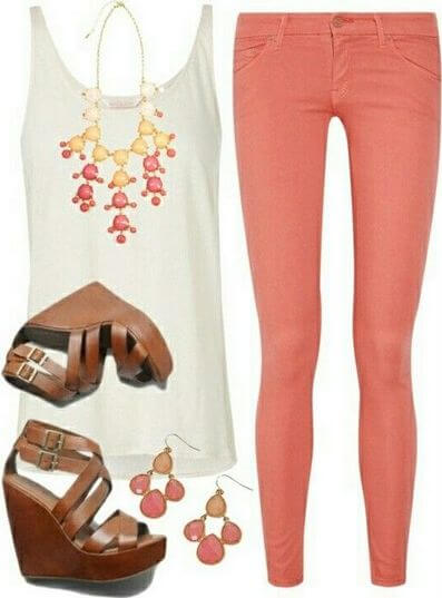 Dress in style with a white top & orange jeans, sexy wedges and dangling accessories to complete this feminine look