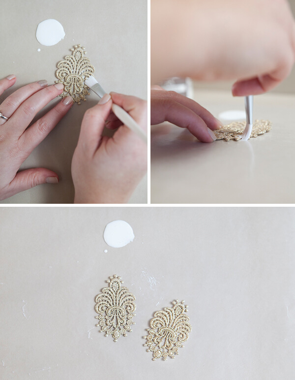 Start making the earrings by painting stiffener to front and back.