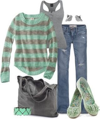 Minty striped sweater with ragged jeans, doll shoes, simple accessories and a large bag to complete the look