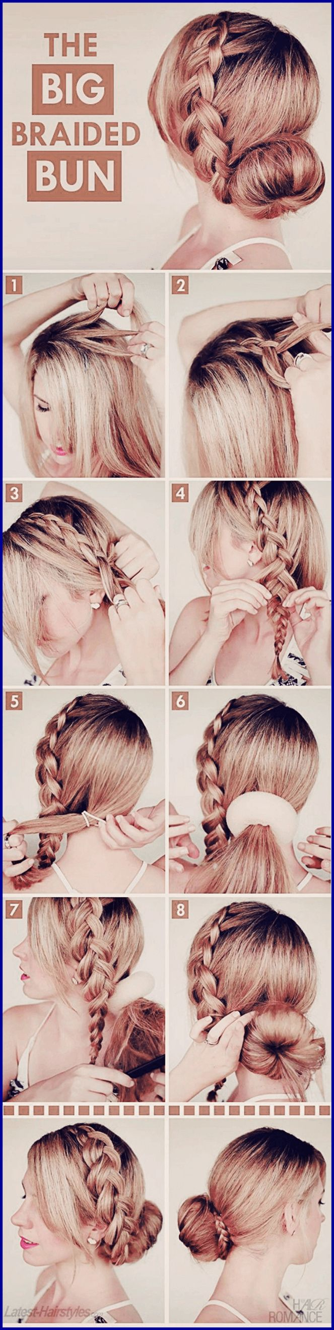 Steps in achieving the big braided bun