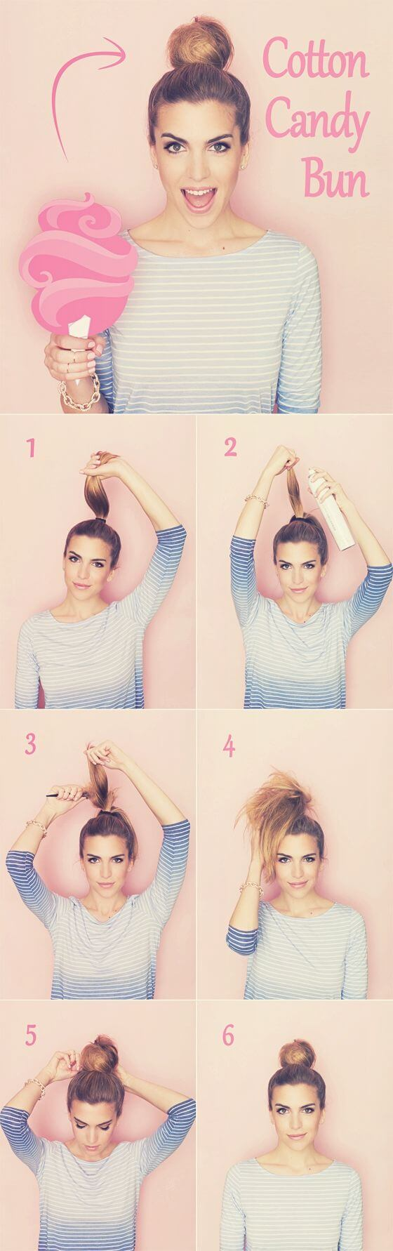 If buns and top knots are your thing, then you will love this cute fluffy cotton candy bun style.