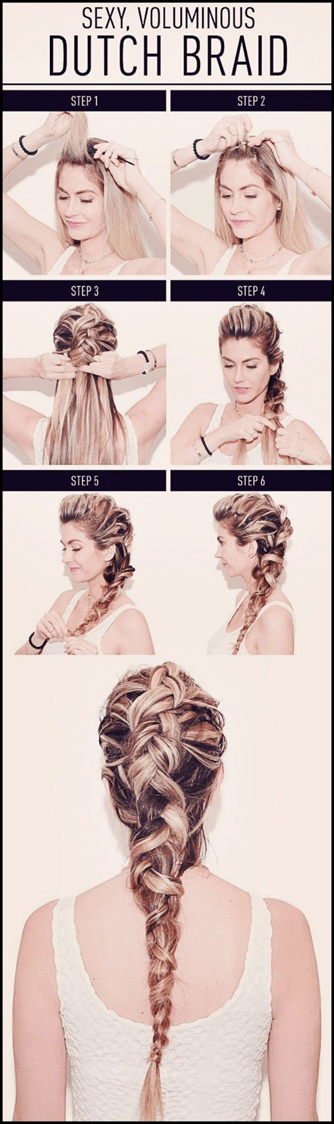 Steps shown in achieving the sexy voluminous dutch braid