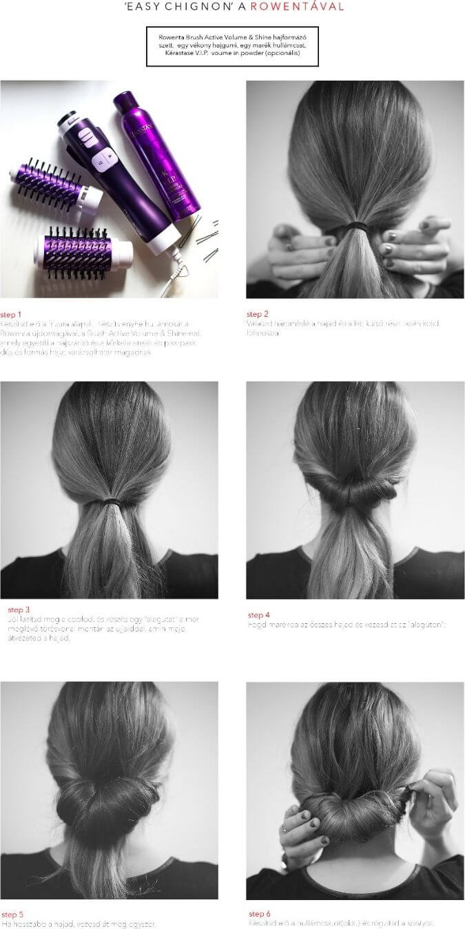 This chignon look is easy and fast to do