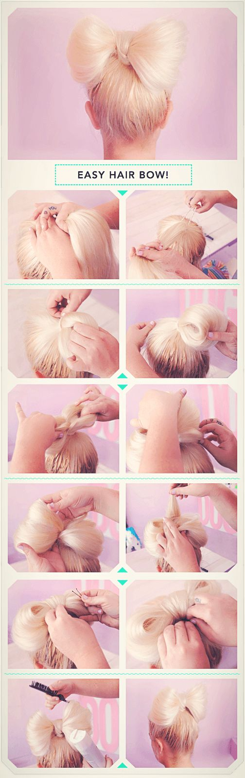 The steps to an easy hair bow