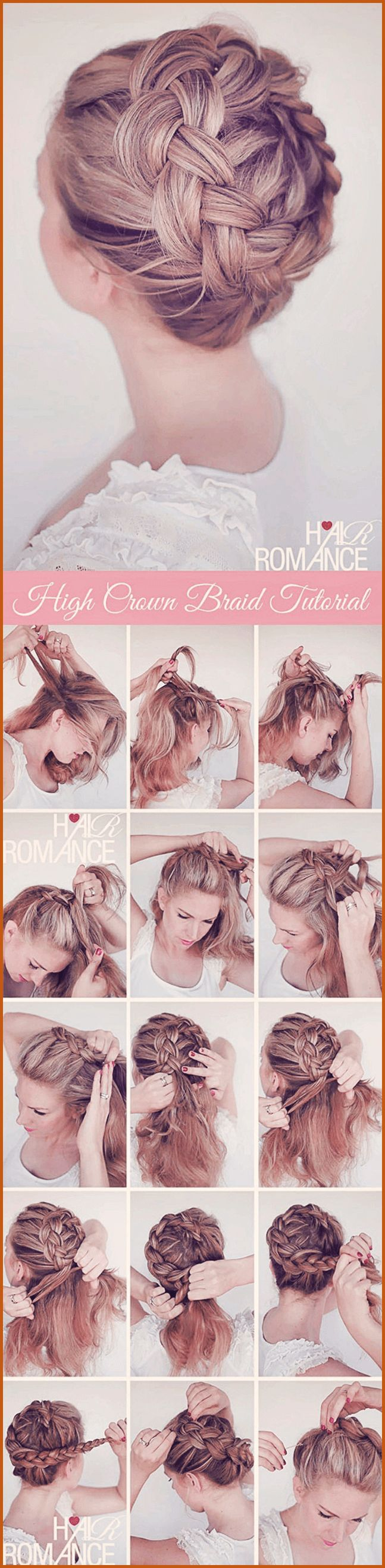 Model illustrates how to get the high crown braid