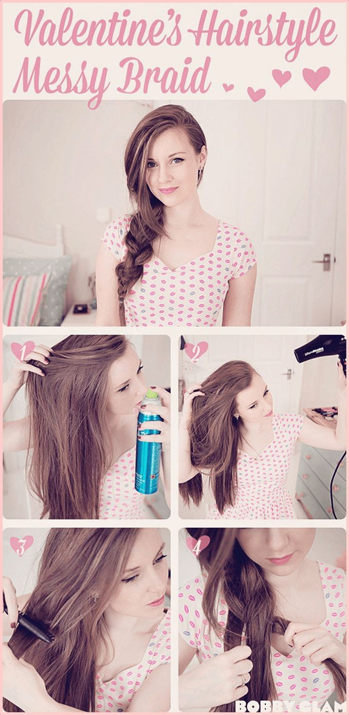 Model shows the steps to create the messy side braid