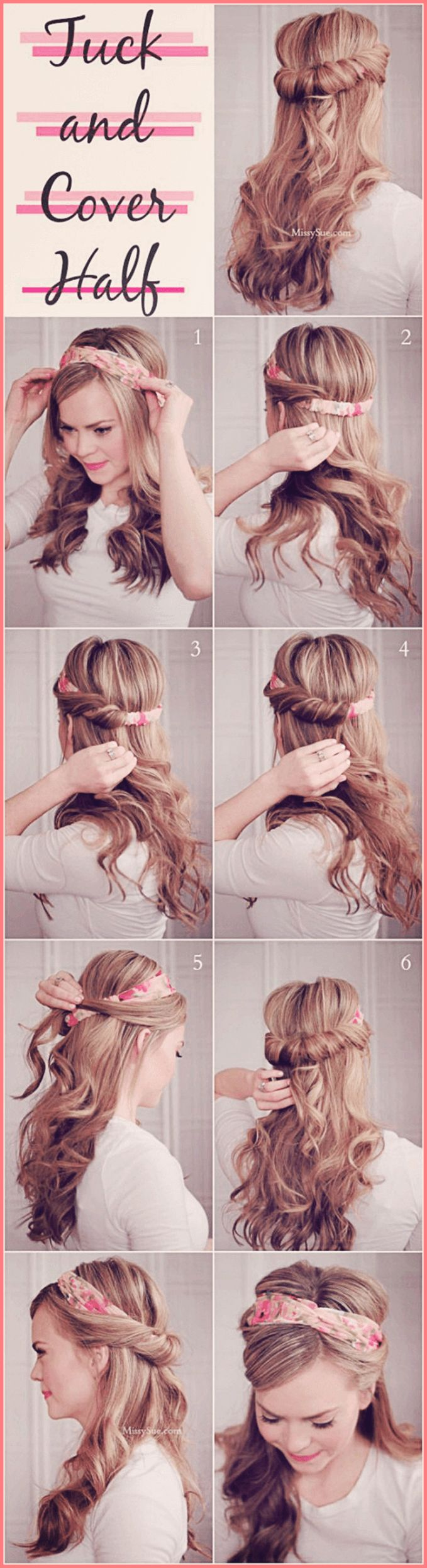 The model shows off how to do the tuck and cover half hairstyle