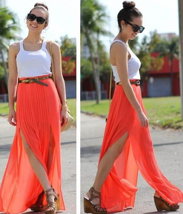 Show off your gorgeous gams by wearing this two-way split maxi skirt and white top.