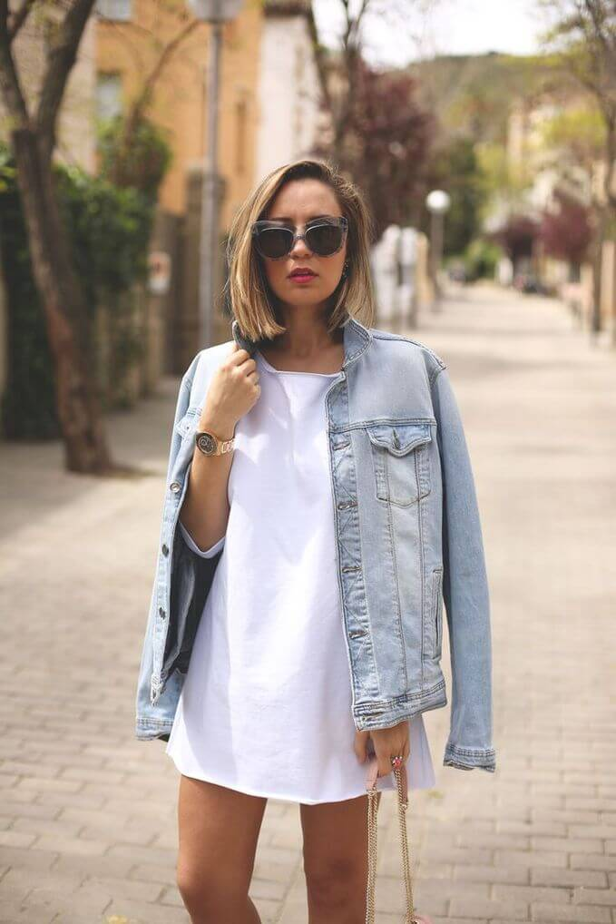 You can wear a denim jacket with everything you want, from classic white dress to the casual daily outfit.