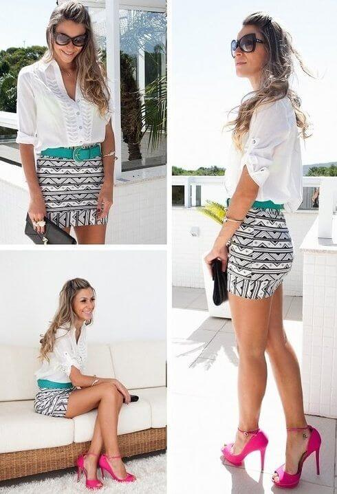 Create one of the most stylish summer looks using a mini skirt with prints like these.