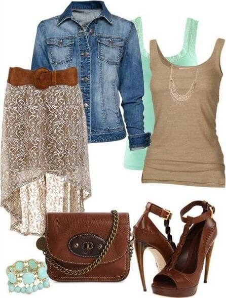 Brown tank top and a flowy skirt topped with a denim jacket, brown heels and a leather sling purse to match, and a white bracelet completes the look