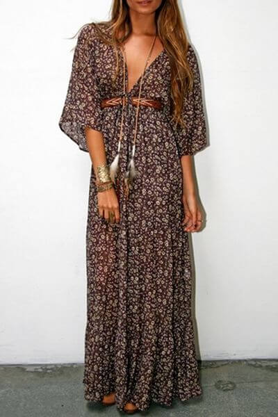 Woman in a long Coachella festival style maxi dress. Coachella inspired maxi dress.
