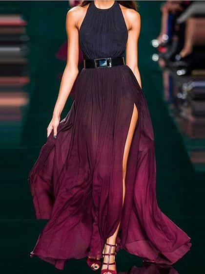 Model in ombre maxi dress combined with black belt and nearly red heels. Ombre effect creates an astonishing look on this maxi dress.