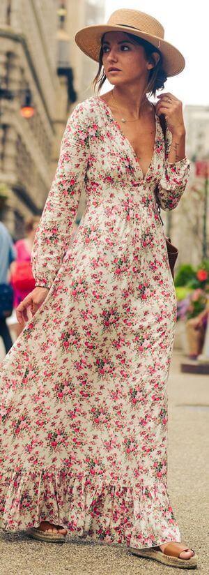 Woman walking in long floral dress
